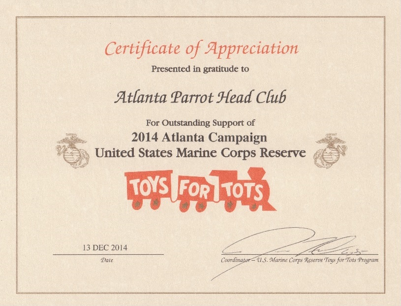 The atlanta parrot head club toys for tots certificate of toys for tots certificate of appreciation yelopaper Gallery